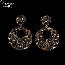 Dvacaman Brand 2017 Big Round Circle Drop Earrings Long Rhinestone Earrings Vintage Maxi Earrings Punk Style Party Jewelry P57