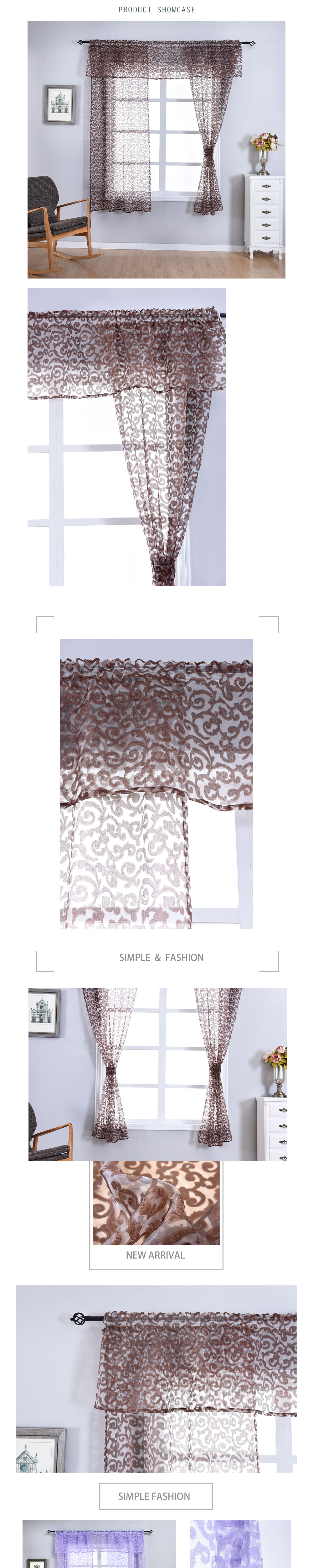 AOL-Smt293 NAPEARL Classic Floral Kitchen Rod Pocket Curtains Window Valance and Tiers Sheer Short Drapes Jacquard Tulle Bay Window Voile (1)