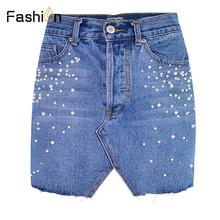 Buy Casual Split Pearls Denim Skirts Womens Button Skinny Mini Skirt 2018 Streetwear Summer Pencil Jeans Skirt Plus Size Harajuku for $11.83 in AliExpress store