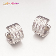Yunkingdom white gold color small hoop earrings for women ladies fashion jewelry wholesale UE0074