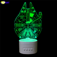 FUMAT Novelty Star Wars 3D Lamp Noverlty Star Wars 3D Bluetooth Speaker USB Music Night Light Color Changeable Lampara Kid Gift