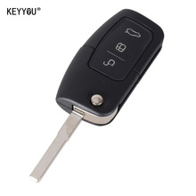 KEYYOU 3 Button Flip Folding Modified Uncut Car Blank Key Shell Remote Fob Cover for Ford Focus Fiesta C Max Ka With LOGO