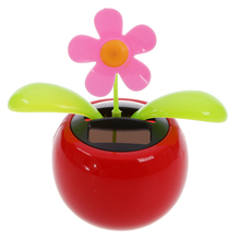 Car Rose-red Cute Flip Flap Swing Solar Flower(China)
