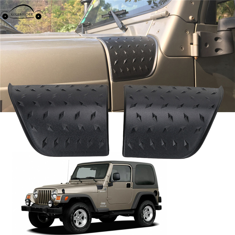 For 1997-2006 Jeep Wrangler TJ Cowl Body Armor Cover Rugged Ridge Stickers ABS Diamond Plate Trim Black Car Accessory KOLEROADER<br>