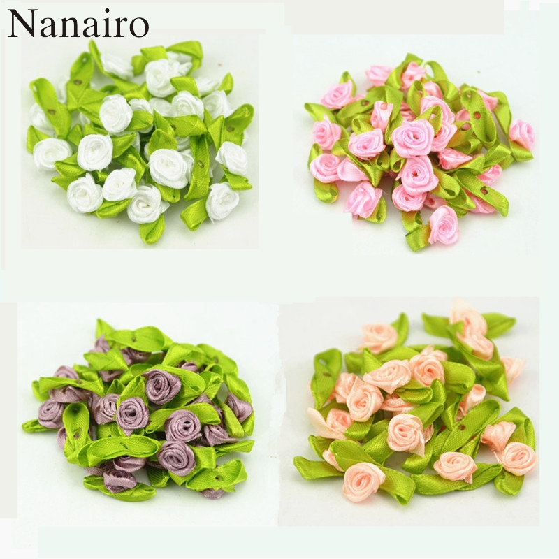 100PCS Artificial Mini Silk Rosettes Fabric Flowers Heads Making Handmade Satin Ribbon Roses DIY Craft For Wedding Decoration(China)
