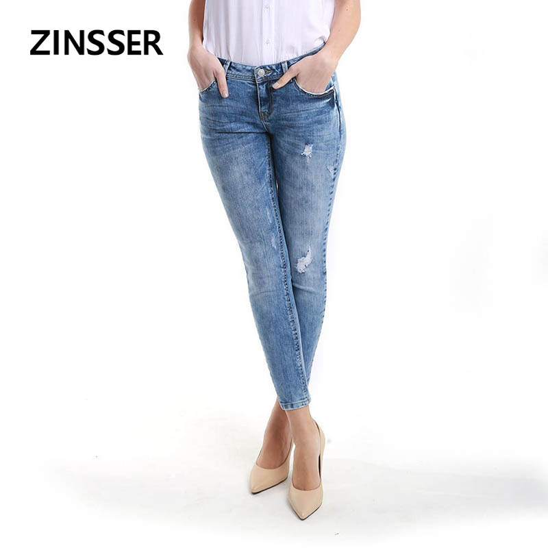 Women Denim Skinny Pant Stretch Destroyed Low Waist Acid Snow Blue Slim Elastic Ripped Lady Jeans