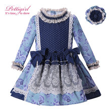 Pettigirl England Style Girl Blue Flower Vintage Dress With Headband Long Sleeve Lace Dress Kids Pageant Clothing G-DMGD004-D12(China)