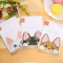 Kawaii Stationery Cute Cartoon Cat Ears Memo Pad Sticky Notes Planner Stickers Mini Self-Adhesive N times Posted Message Office(China)