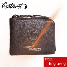 CONTACT'S New Genuine Leather Men Wallets Small Vintage Men's Wallet Zipper Coin Purse Cowhide Leather Card Holder Pocket Purse(China)
