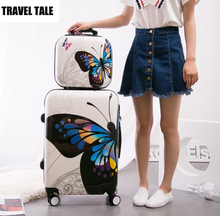 "TRAVEL TALE 20""24 inch female travel suitcase spinner butterfly hardside rolling luggage set"