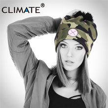 CLIMATE Girl Women Winter Warm Pompon Beanies Camouflag Love Skullies Hat Unique Army Camouflag Color Soft Nice Knitted Hat Caps(China)