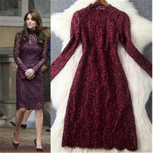 Top quality new arrival 2017 spring summer long sleeve women fashion lace dress purple celebrity wear kate princess sexy dresses