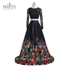 2017 New Fashion Floral Flowers Pattern Print Two Piece Prom Dresses Robe de Soiree Open Back Lace Top Formal Evening Party Gown(China)