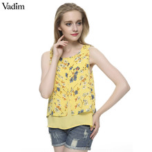 Women's yellow floral print Summer shirt vintage O neck sleeveless chiffon shirts casual loose brand tops WT198