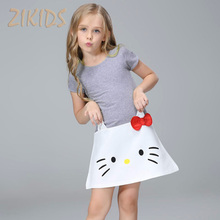 2-10 Years Cute Baby Girl Dress Summer 2017 Cartoon Casual Kitty Cat Dresses Pure Cotton Children Kids Girls Clothes for Party