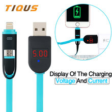 TIQUS Smart 2 In 1 Micro USB Lightning Mobile Phone Cable Display Voltage Current Fast Charge & data Charger Cable for iPhone