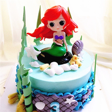 fancy mermaid doll cake toppers party decoration birthday cake decorating supplies the little mermaid cupcake toppers dolls(China)