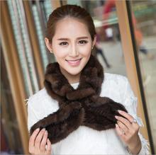 Elegant Crimping Winter Fur Scarf Genuine Knitted Real Mink Fur Scarf For Women Wrap Cape Wholesale WJ-12