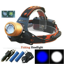 Headlight 2 x CREE Q5 White and Blue Light Led Headlamp Adjustable Zoomable Head Torch Outdoor Head Light Fishing Head Lamp