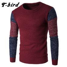 T-bird 2017 New Fashion Brand Men Sweaters Pullovers  Fight Color Sleeve Warm Designer Men's Slim Fit Casual Knitted Man  XJSDSD