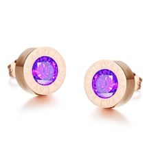 Fashion Jewelry Trend Accessories Round Colorful Crystal Women Stud Earrings Stone Can Be Remove & Filled CE975(China)