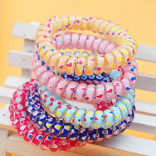 100pcs/lot headwear Tuba Overstriking Fund Love Printing Telephone Line elastics for Hair apparel & accessories Circle frozen(China)