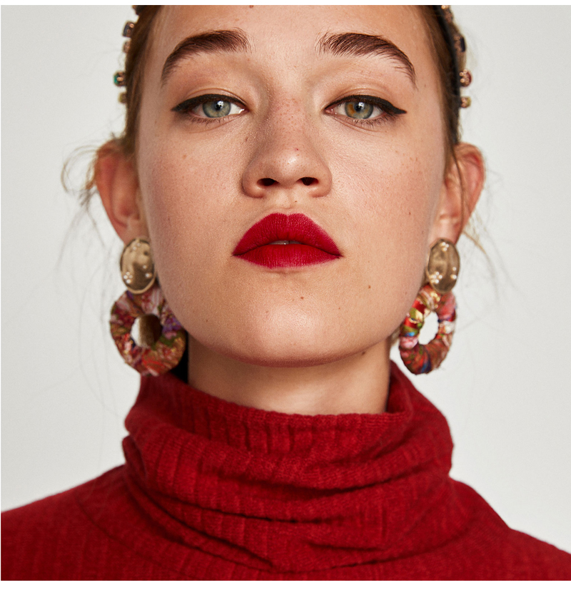 Colorful Dangle Drop Bohemian Cotton Cloth Statement Earring
