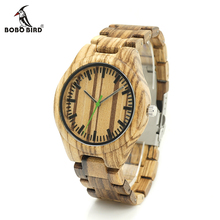 BOBO BIRD K28 Zebra Wood Wristwant Mens Style Wood Dial Green Second Hand Quartz Watch Wood/Leather Strap in Gift Box