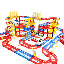 DIY 3D Electric Rail Car Train Track Multilayer Construction Vehicles Model Assemble Educational Toys Gift For Kids Children Boy(China)