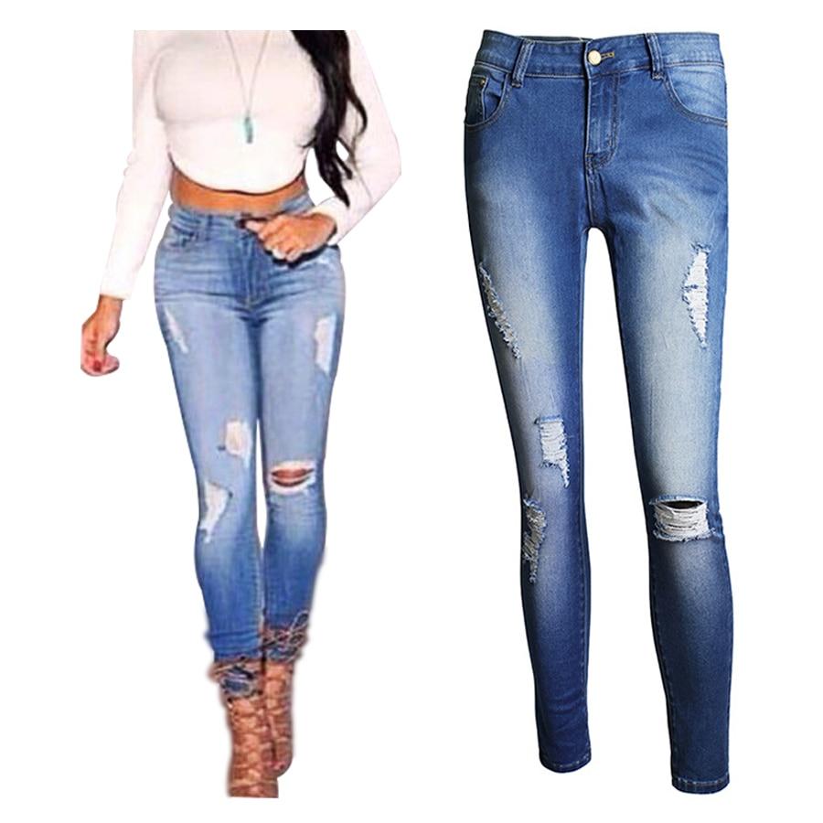 New Arrival 2017 Skinny Jeans Women High Waist Slim Pencil Pants Hole Design Women Denim Pants Size XS-4XLОдежда и ак�е��уары<br><br><br>Aliexpress