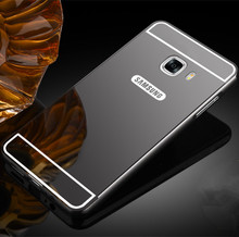 Luxury Aluminum Acrylic Mirror Case For Samsung Galaxy C5 C7 Mobile Phone Protective Back Cover For C5000 C7000