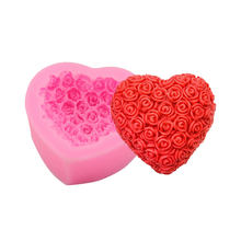 Hot Selling Rose Shaped Silicone soap Mold Cake Decoration Fondant Cake Loving Heart Gum Paste Fondant Clay Soap Mold(China)