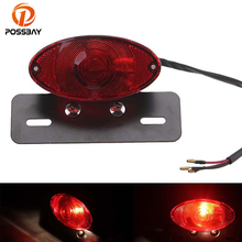 POSSBAY Red Motorcycle Light License Plate LED Rear Tail Lights Brackets Cafe Racer for Harley Sporster Softail Dyna XL 1200 883
