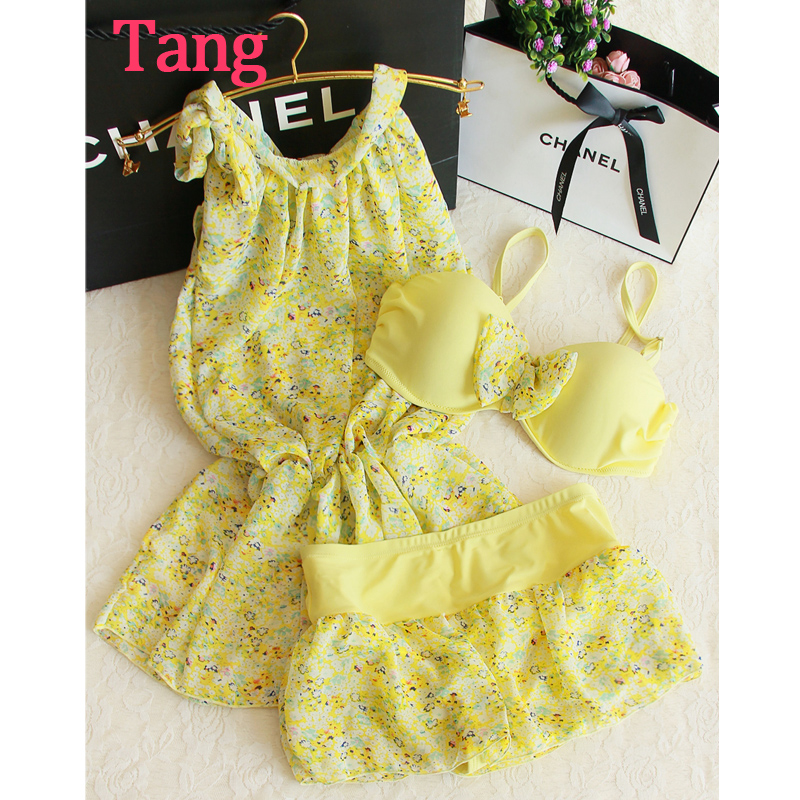 STAR MENG polyester print floral small fresh sweet  three piece mid waist steel supporting bikini bathing suit biquini infantil<br><br>Aliexpress