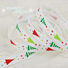 "(5 yards/lot) 3/8"" (10mm) white printed christmas trees Grosgrain Ribbon gift ribbons"