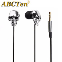ABCTen Unique Design Metal skull 3.5mm In-ear Earphone Headset High Performance + Retail Box for iPhone Optus Philips Sony HTC(China)