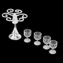 ABWE Set of 4pcs Goblet Red Wine Cups with Metal Rack Stand Holder Dolls House Miniature Dining Room Pub Bar Accessory Silver