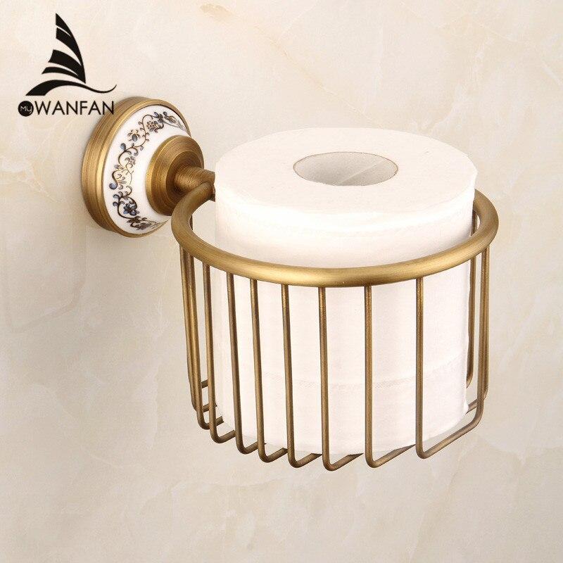 Paper Holders Antique Bronze Bathroom Brass Toilet Paper Holder Roll Paper Towel Holder Shower Storage Bath Hardware setHJ-1815F<br>