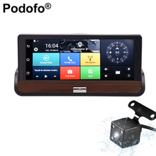 Podofo 3G 7'' Touch Screen Android 5.0 Car DVR Dual Cams GPS Navigation Bluetooth Wifi Recorder Dashcam With Rear View Camera