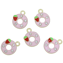 "Doreen Box Charm Pendants Donuts Gold color Pink Strawberries Carved Clear Rhinestone Enamel 17mm( 5/8"") x 14mm( 4/8""),5 PCs(China)"