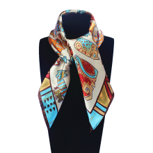 Imitated Silk Euro Nations Wind Bohemia Cartoon Cat Printed 60cm*60cm Scarf Small Square Scarves Woman Headband Hijab