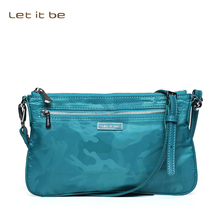 Let it be Women crossbody bag waterproof printing nylon bolsas casual clutch for girls canvas mini wristlet leather trim(China)