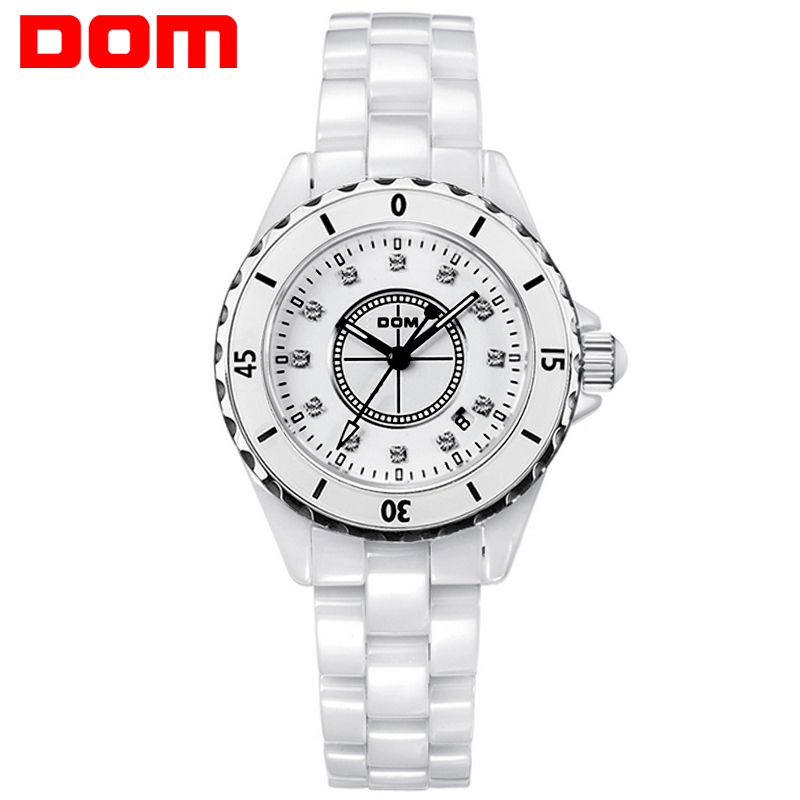 DOM Fashion Women Watch Special Quartz Wristwatch Ceramics Band Watch for Ladies Hand Clock Women Waterproof Women Watch<br>