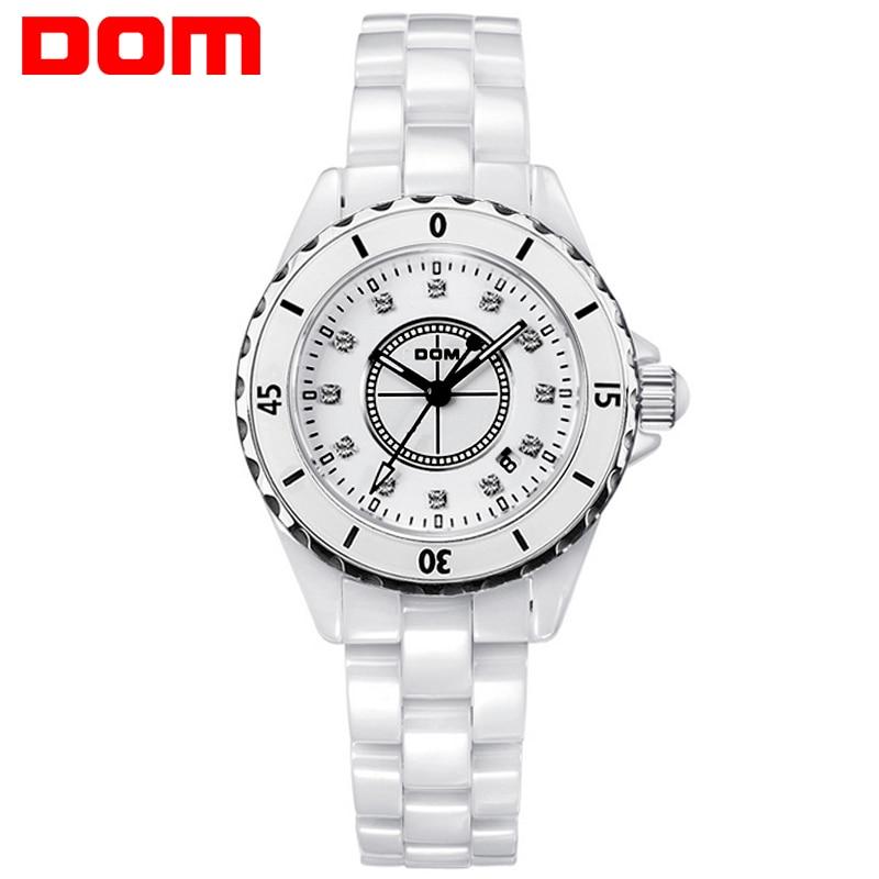 DOM Fashion Women Watch Special Quartz Wristwatch Ceramics Band Watch for Ladies Hand Clock Women Waterproof Women Watch<br>