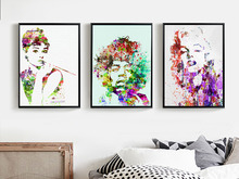 Audrey Hepburn Marilyn Monroe - Minimalist Art Canvas Poster Print Watercolor Style Picture for Modern Home Wall Decor FA003
