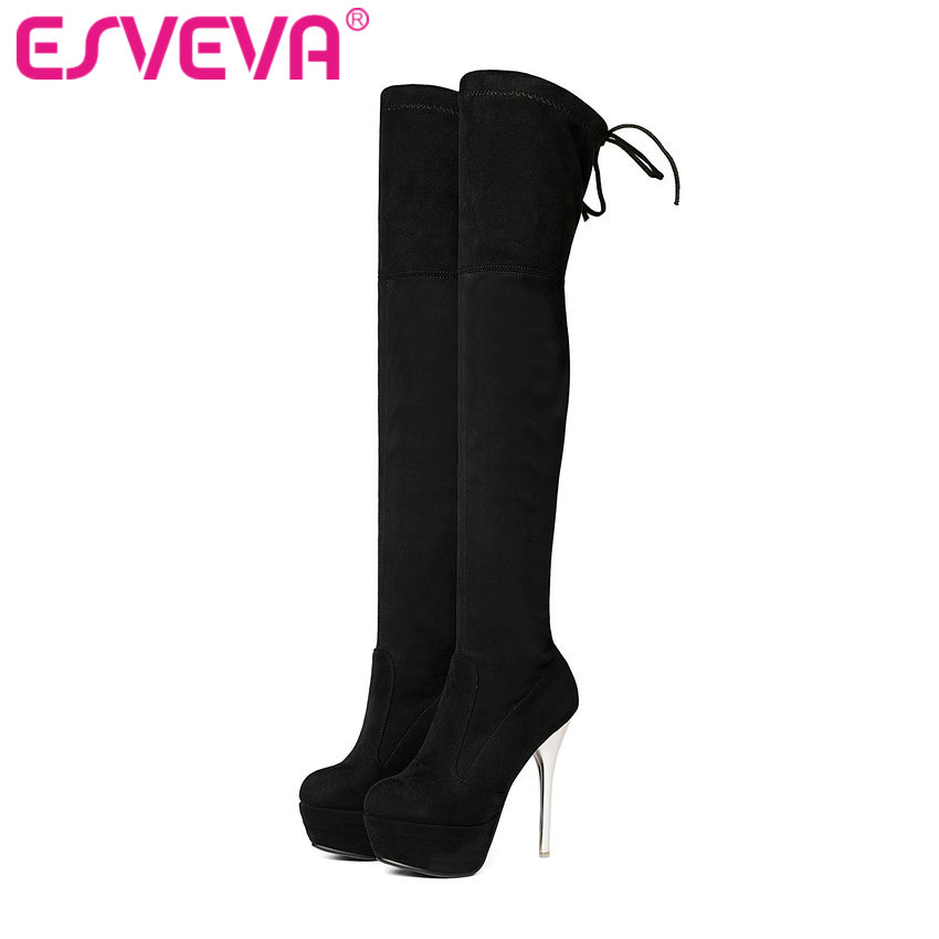 ESVEVA 2017 Over The Knee Boots Stretch Party Fabric Super High Heel Women Boots Ladies Winter Thin Heel Long Boots Size 34-43<br>
