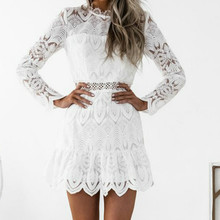 Buy 2018 Sexy Bandage Dress Women Vintage White Black Lace Long Sleeve Mini Bodycon Dress Tunic See Party Dresses Vestidos for $10.29 in AliExpress store