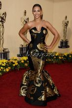 81th annual Academy Awards ceremony's black gold embroidery red carpet dress sexy mermaid long golden pattern