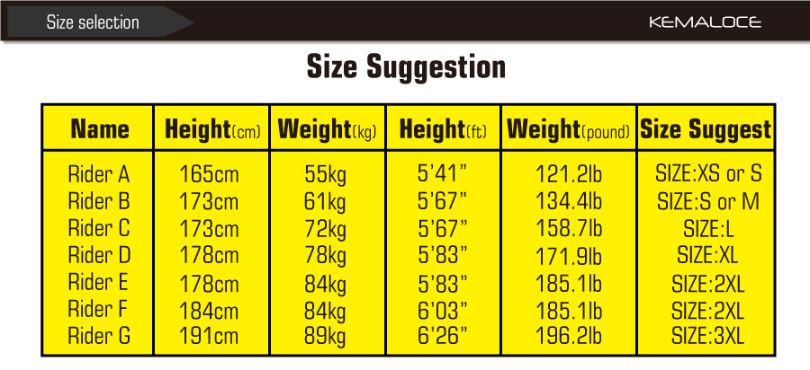 size suggestion of cycling wear