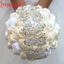 100% Top Quality Bridal Bouquet Ivory Cream Flower Diamond Brooch Wedding Bouquet Crystal Stitch Bouquets Welcome Custom W250